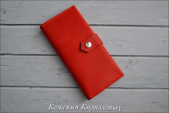 красный кошелек лонгер из кожи Крейзи Хорс