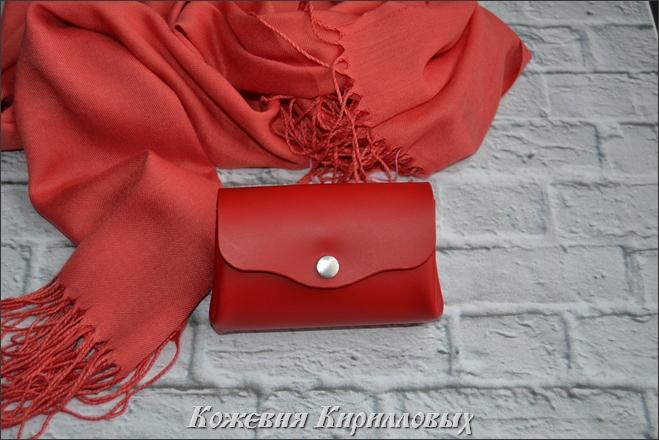 Маленький женский кошелек красного цвета