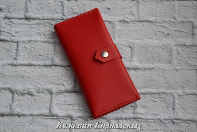 Красный длинный кошелек женский